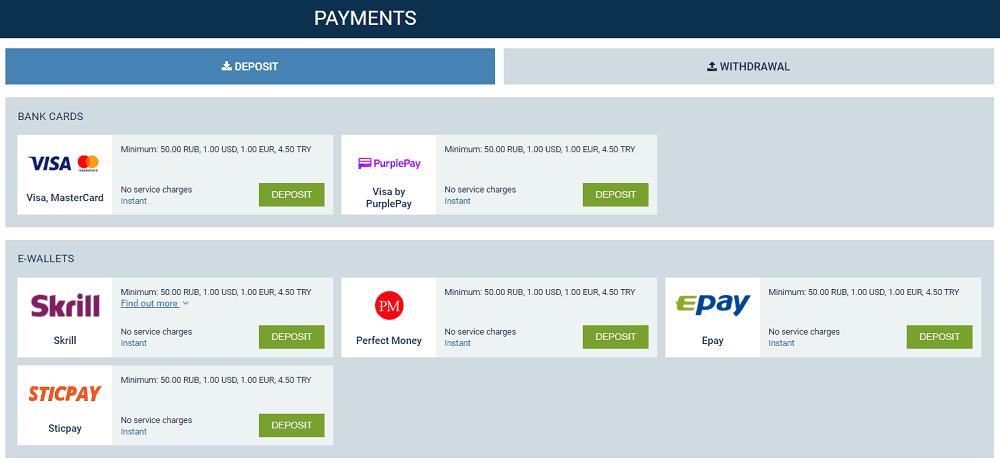 1XBet paymet methods