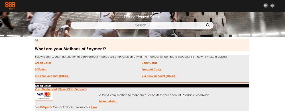 888Sport payment methods