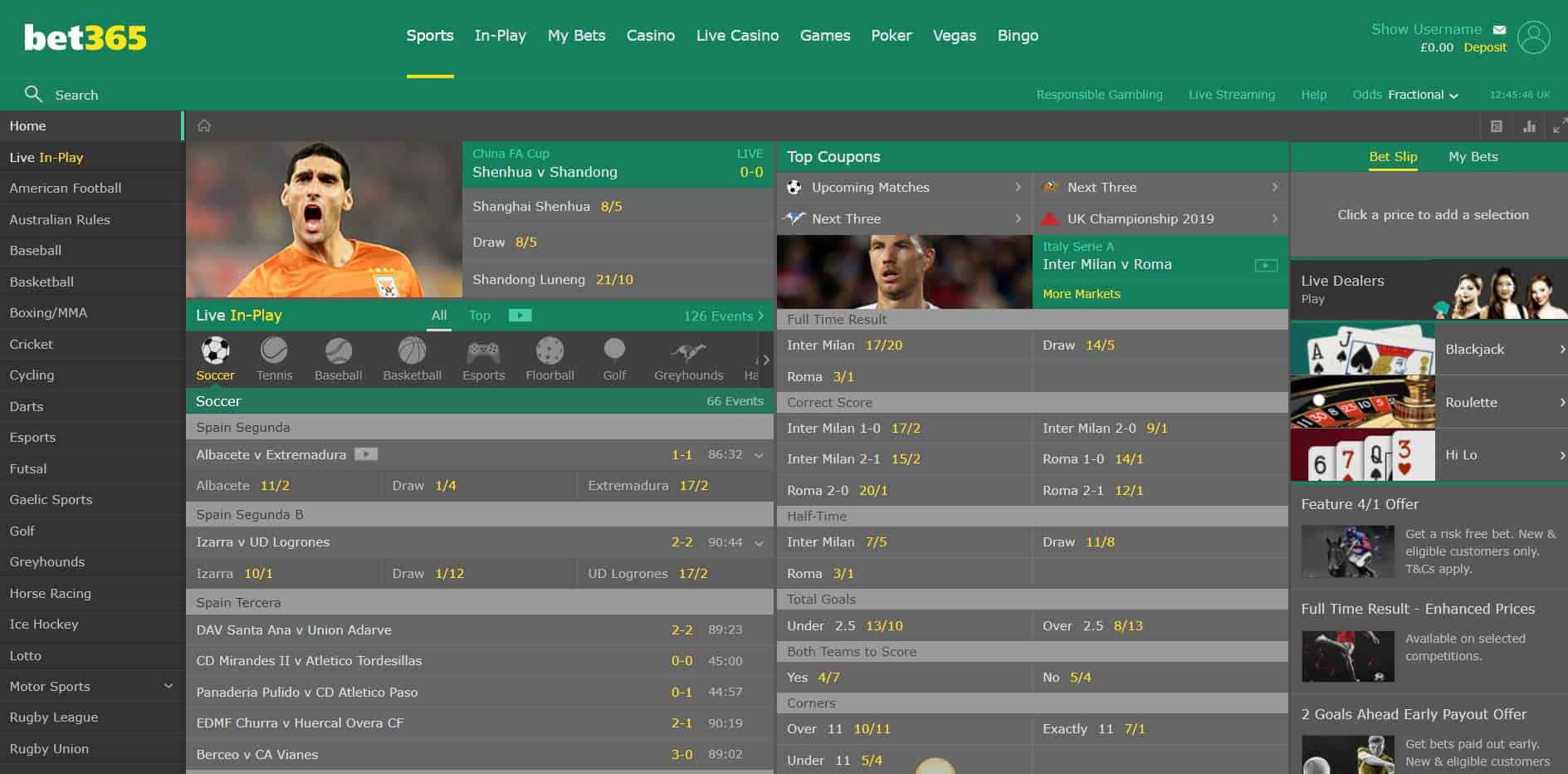 Bet365 Sports Homepage Bet365 Sports Review