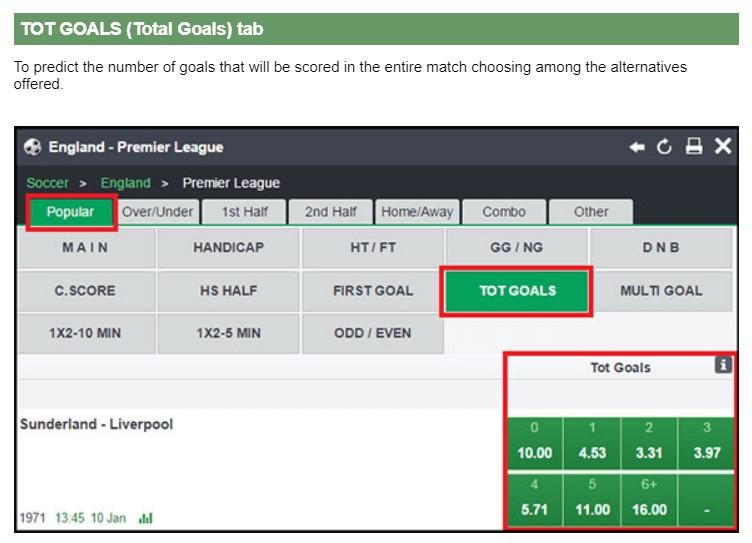 Bet9ja Goal Betting Markets On Website