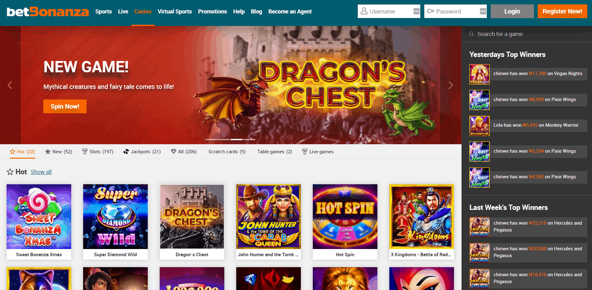 BetBonanza casino homepage