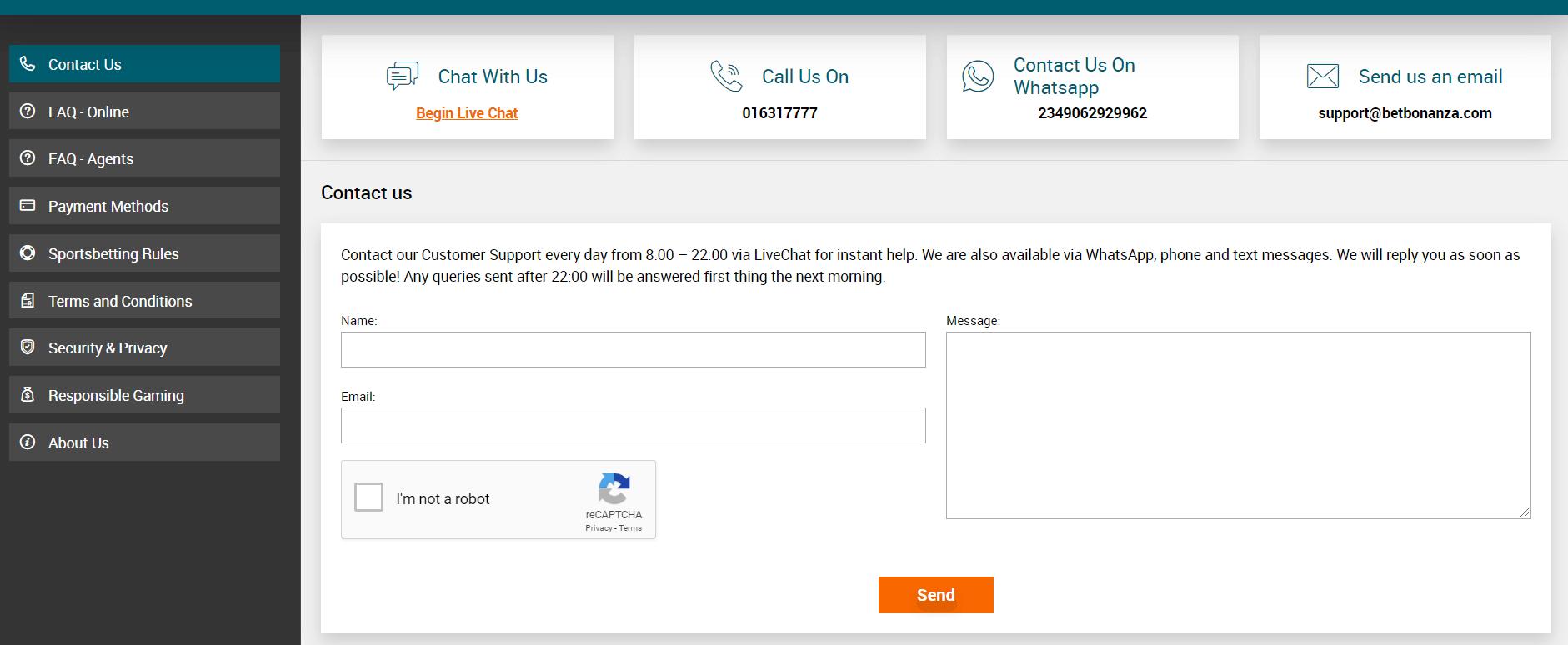 Betbonanza customer service contact information