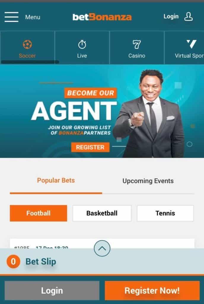 Betbonanza mobile site homepage