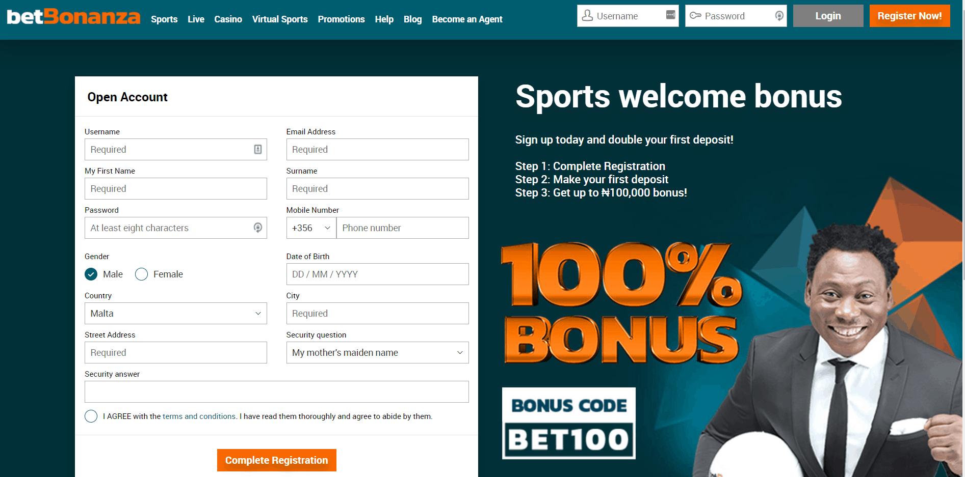 betbonanza registration page