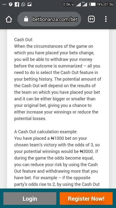 Betbonanza cash out mobile