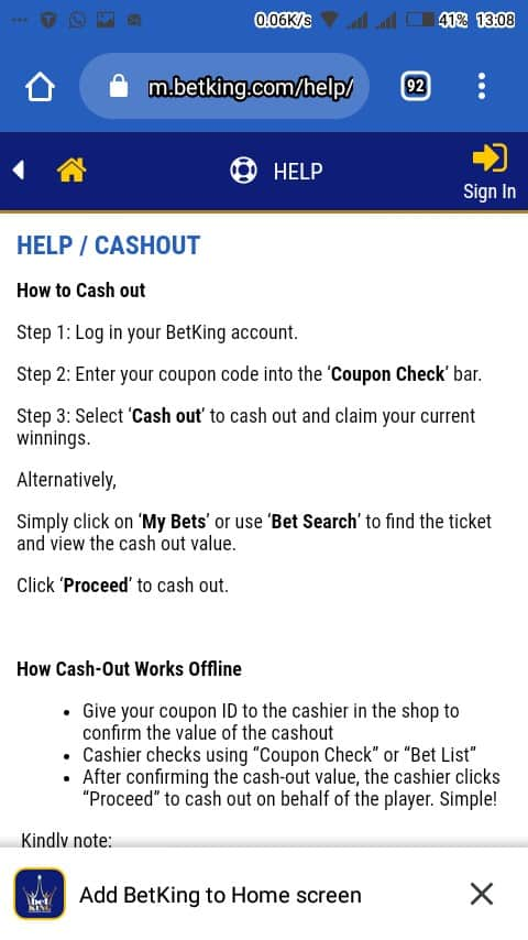 Betking cashout offer