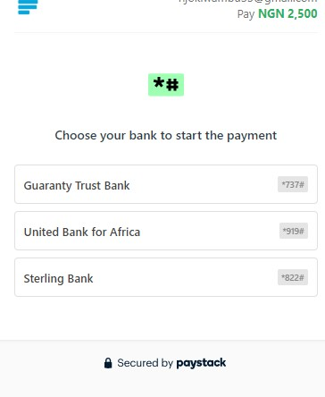 Choose Bank To Start Payment