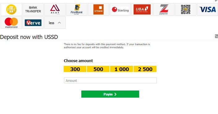 Deposit Now With USSD Choose Amount