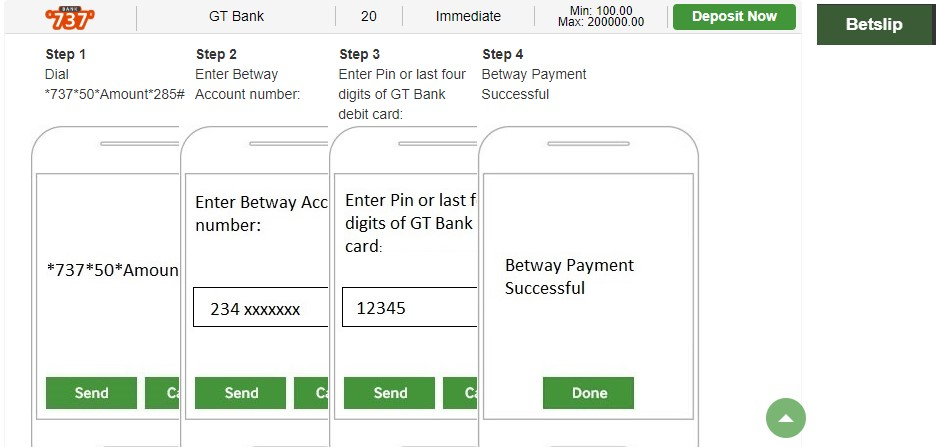 Betway Deposit Using USSD Code