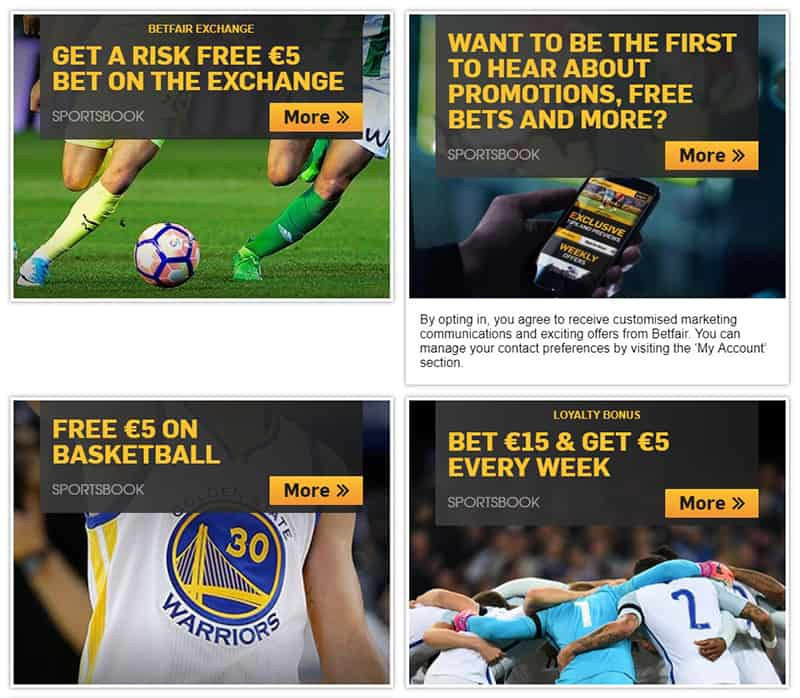 Betfair free bet promotions