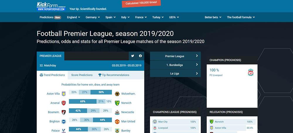 Kick-Form Football Statistics Website - Goals Over Under