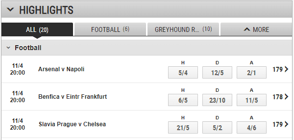 Ladbrokes betting selection