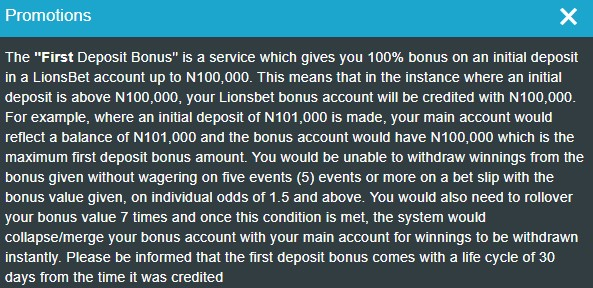 LionsBet promo offers