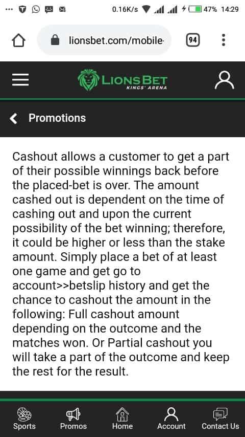 Lionsbet cashout mobile