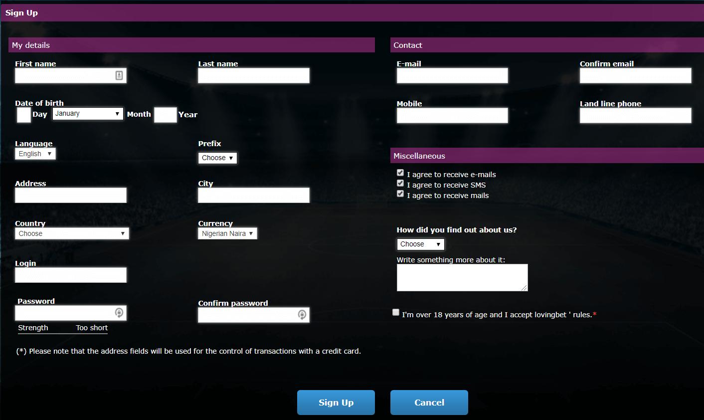 loving bet registration