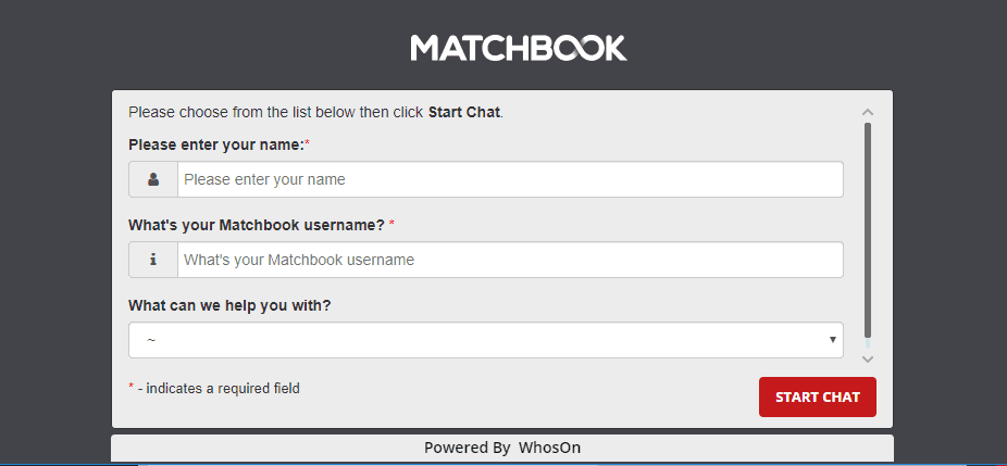 Matchbook live chat