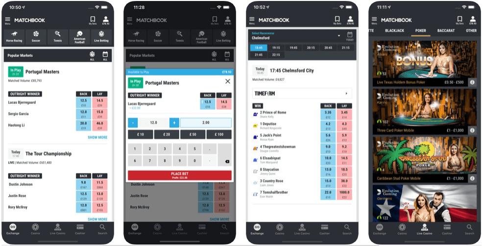 Matchbook mobile app