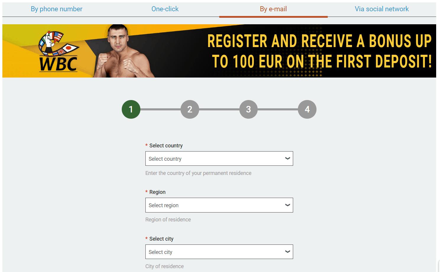 Melbet registration screenshot