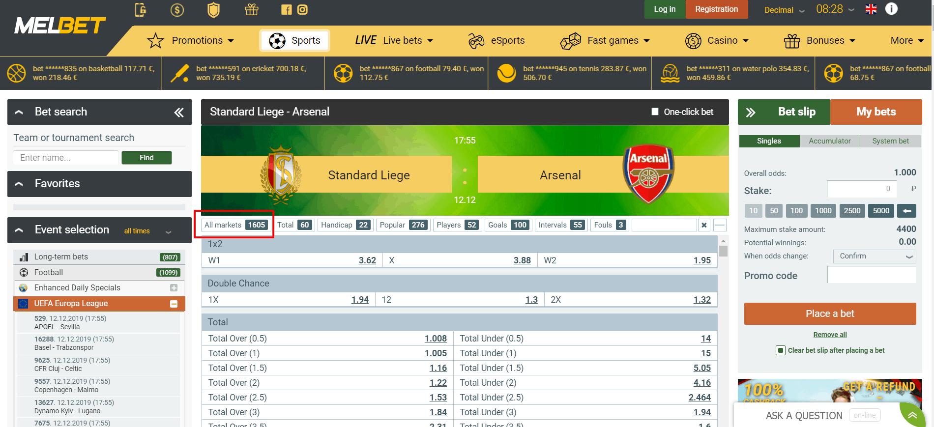 Screenshot of melbet sportbook offering