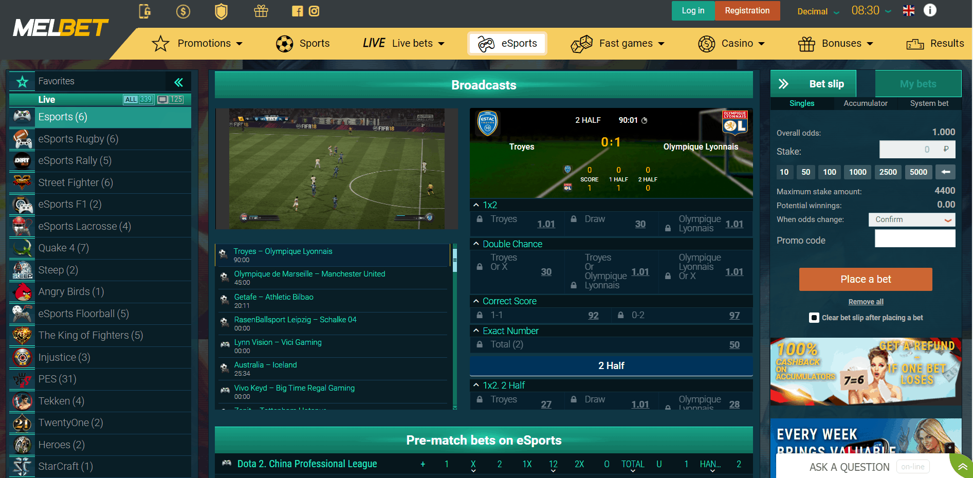 screenshot of melbet esports betting options
