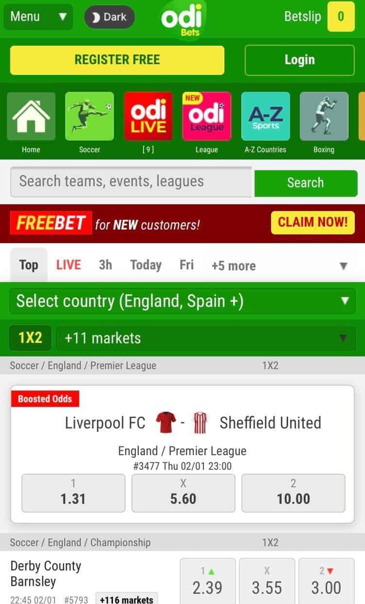 mobile homepage at odibets