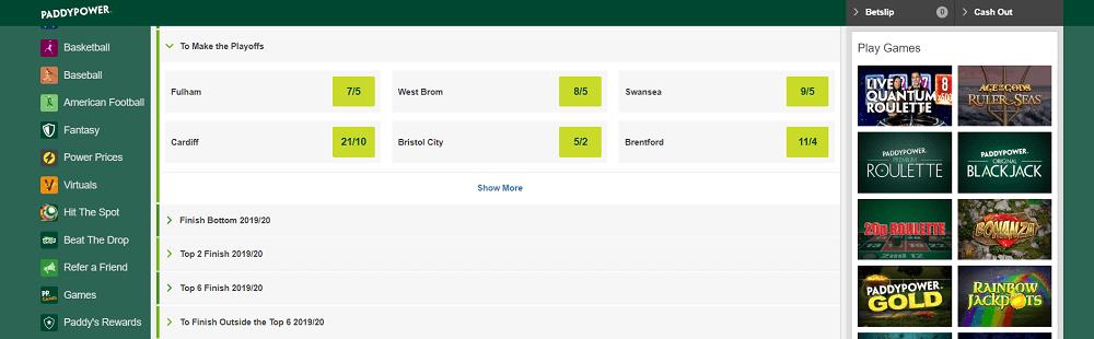 Paddy Power Championship betting
