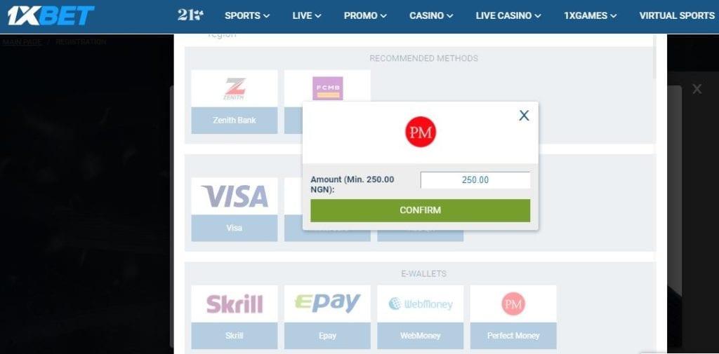 Confirm Perfect Money deposit on 1xBet