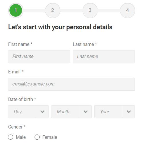 Unibet Registration Form Step 1 - Unibet Sport Betting Review