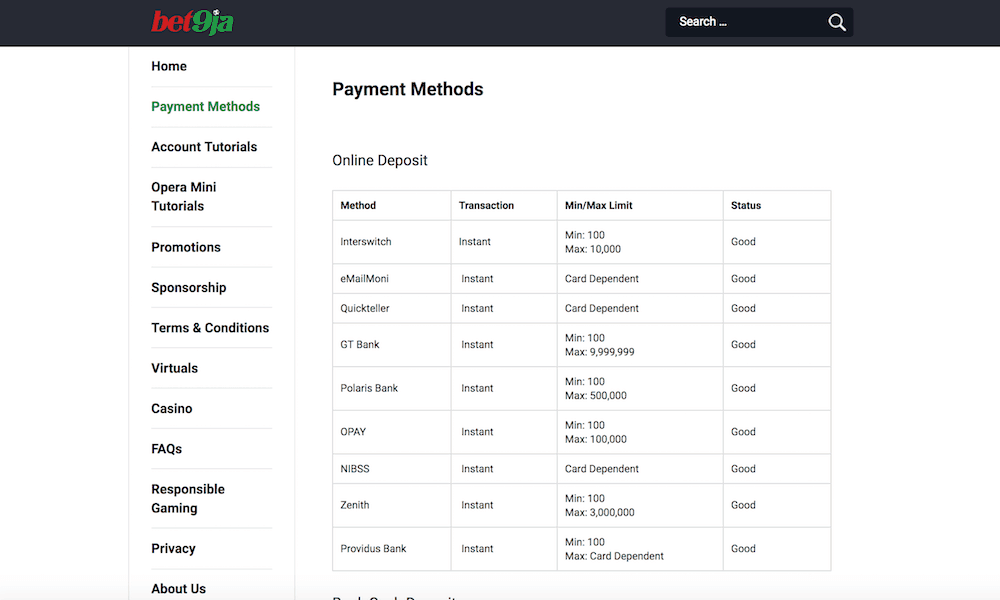 Bet9ja payment methods