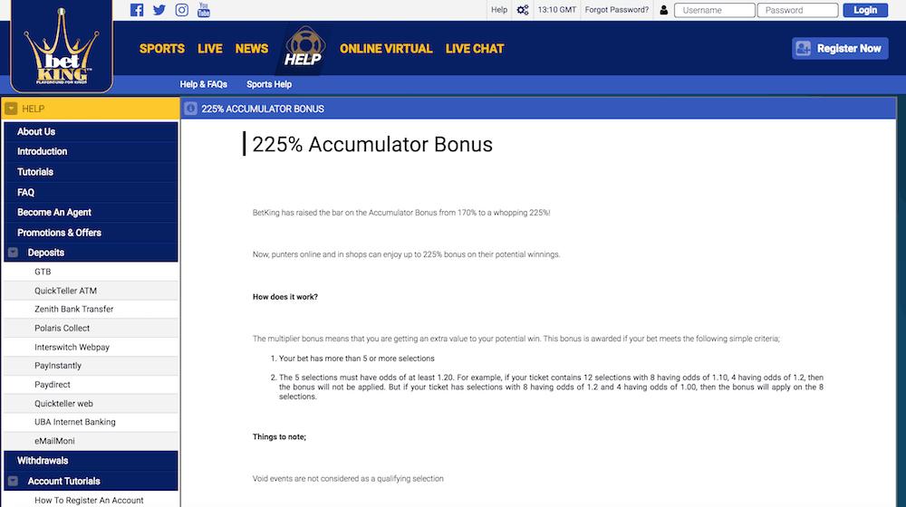 BetKing accumulator bonus