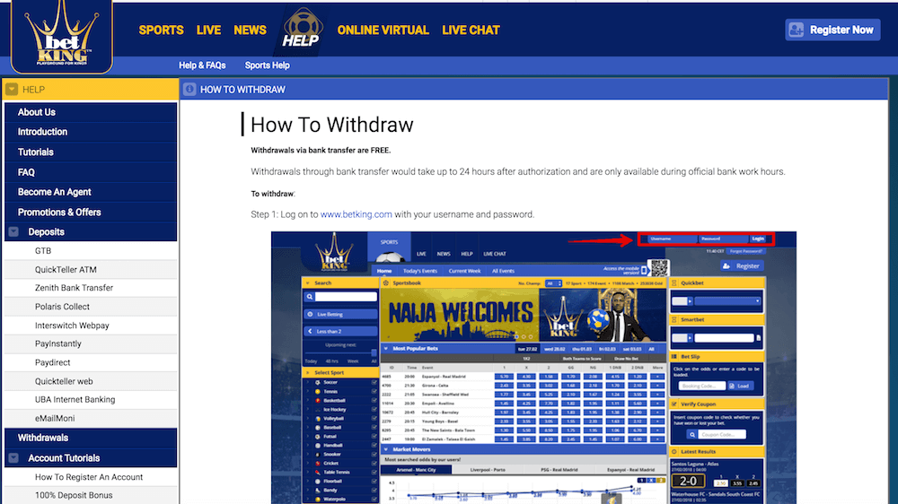 BetKing withdrawal guide