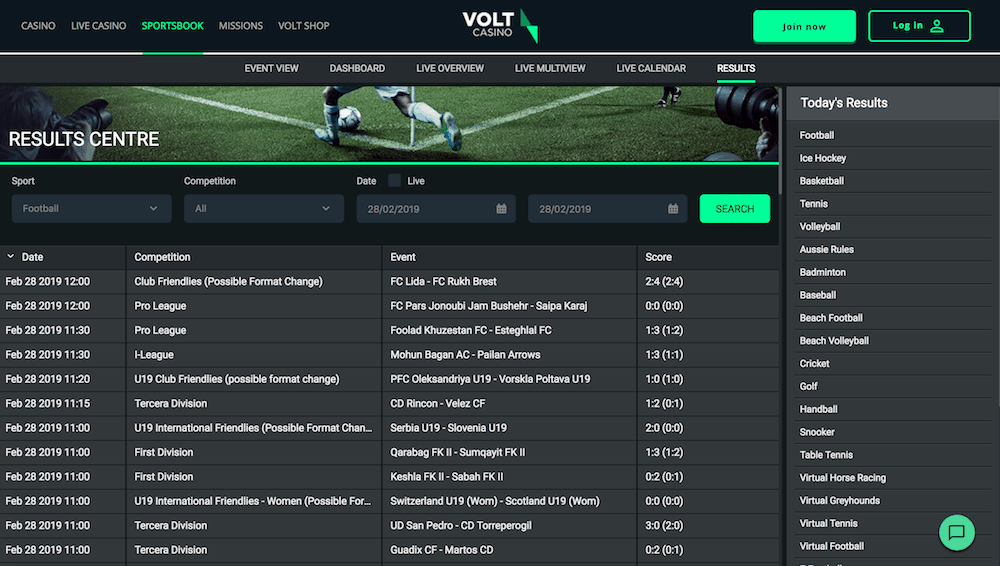 Volt Sports betting selection
