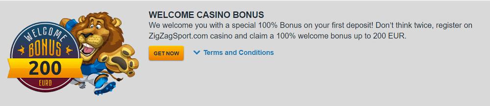 ZigZagSport casino welcome bonus