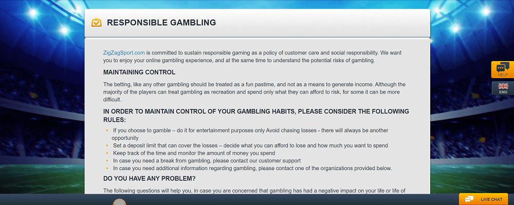 ZigZagSport responsible gambling