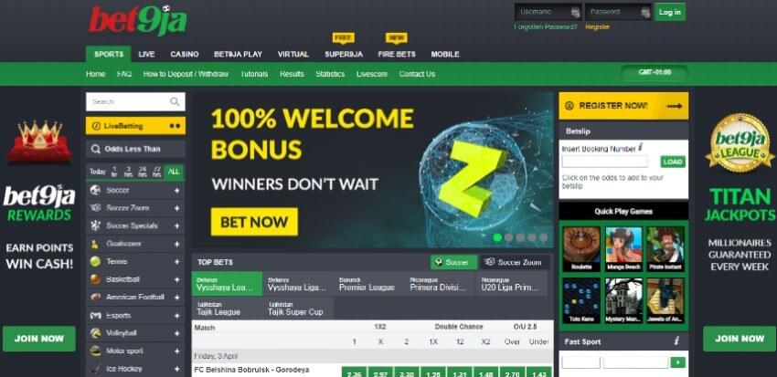 Homepage at Bet9ja Nigeria Betting