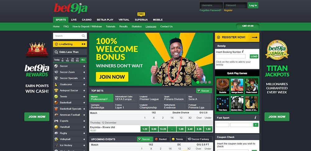 Bet9ja Landing Page - Bet9ja Sports Betting Review