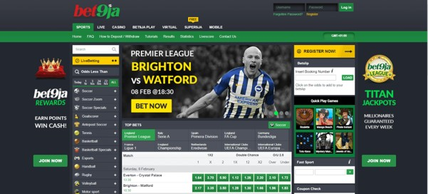 Bet 9ja homepage - 1x2 betting