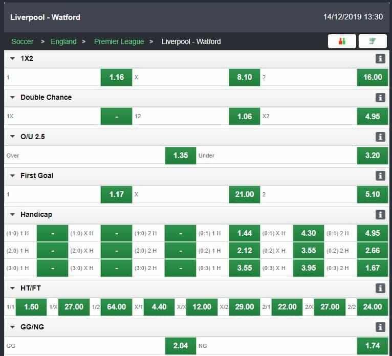 Bet9ja Liverpool VS Watford Live - Bet9ja Sports Betting Review