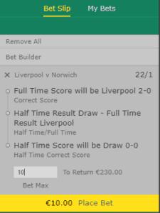 Half time full time correct score Bet365
