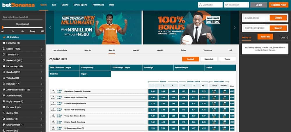 Homepage at Betbonanza Nigeria Betting