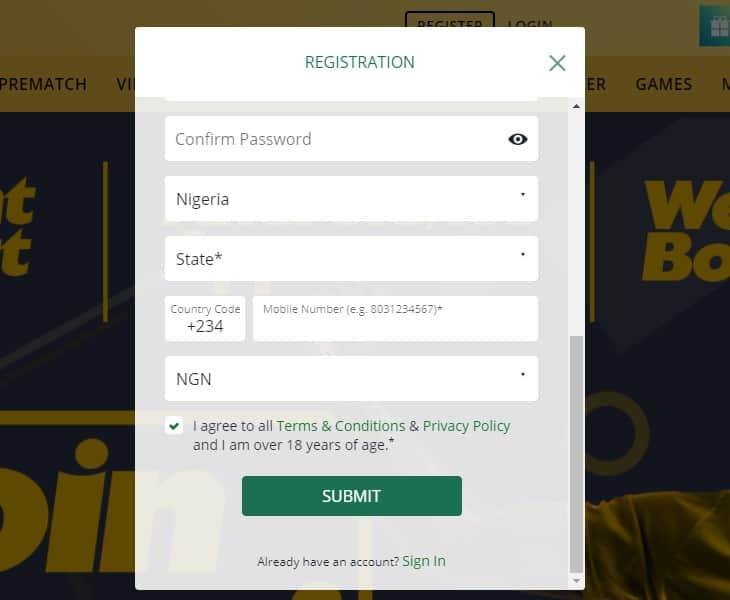 betfarm registration process step2