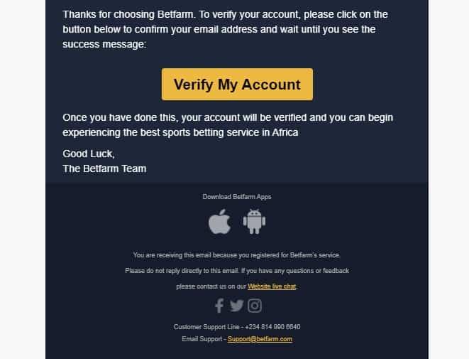 betfarm registration process step4