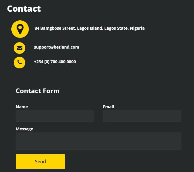 screenshot of betland contact support form