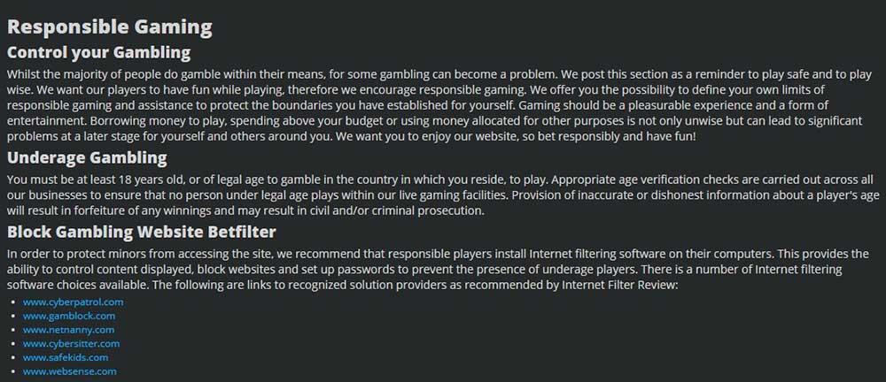 screenshot of betland responsible gaming