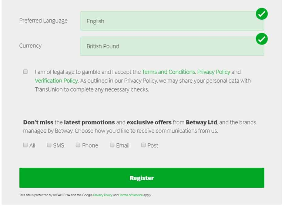 registration process form Betway Review