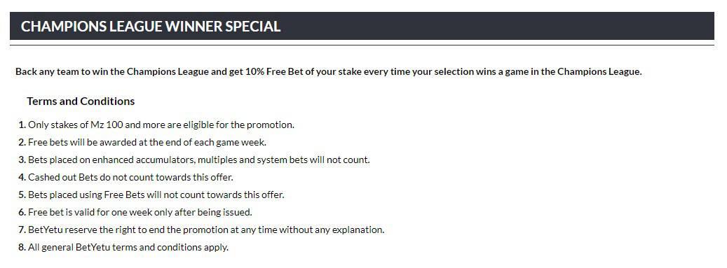 betyetu cl winner offer - BetYetu Sports Betting Review