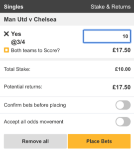 Both teams to score in first half – second half - Betting Terms