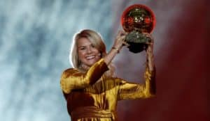 Ada Hegerberg receiving the Ballon d'Or