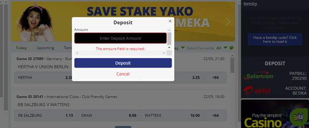 Deposit at Betika with Airtel