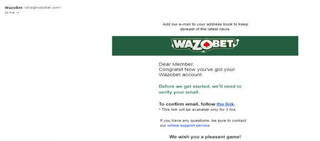 Wazobet Email Confirmation Link